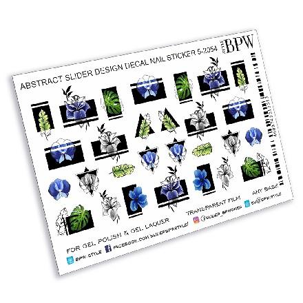Купить BPW.Style, Слайдер-дизайн «Голубые цветы с геометрией», №5-2054