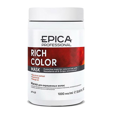 Epica, Маска Rich Color, 1 л chi luxury black seed oil curl defining cream gel
