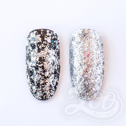 Купить Zoo Nail Art, Хлопья Юки, металлические, серебро, Серебряный