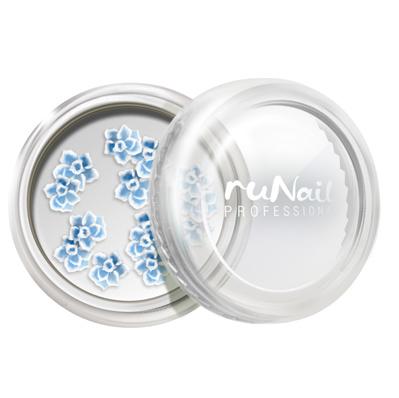 ruNail, дизайн для ногтей: акриловые цветы (розы, голубой), 10 шт
