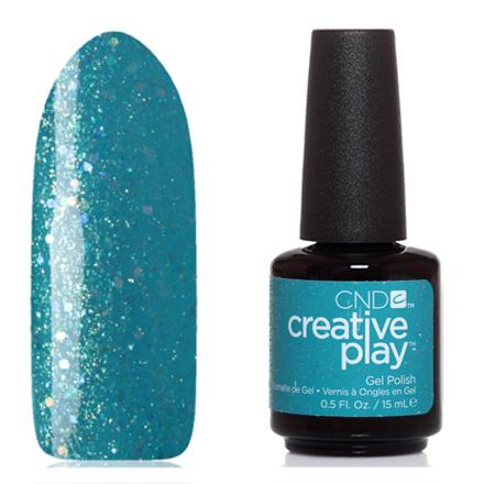 CND, Creative Play Gel №502, Express ur em-oceansCND<br>Гель-лак (15 мл) лазурный, с золотыми микроблестками и голографическими блестками, полупрозрачный.