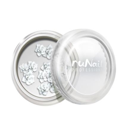 ruNail, дизайн для ногтей: акриловые цветы (розы, белый), 10 шт