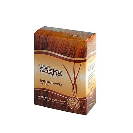 Купить Aasha Herbals, Травяная краска для волос, золотисто-коричневый, 6х10 г