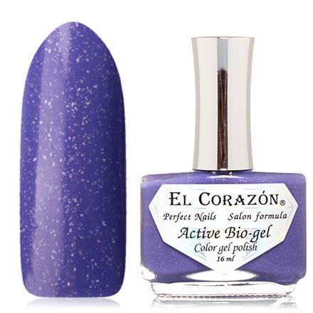El Corazon, Активный биогель Bird Of Happiness, №423/1043El Corazon <br>Лак для ногтей (16 мл) ярко-фиолетовый, с голографическими блестками, плотный.