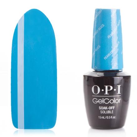 OPI GelColor, Гель-лак Fearlessly AliceGel Color OPI<br>Гель-лак (15 мл) темно-голубой, без блесток и перламутра, плотный.<br><br>Цвет: Синий<br>Объем мл: 15.00