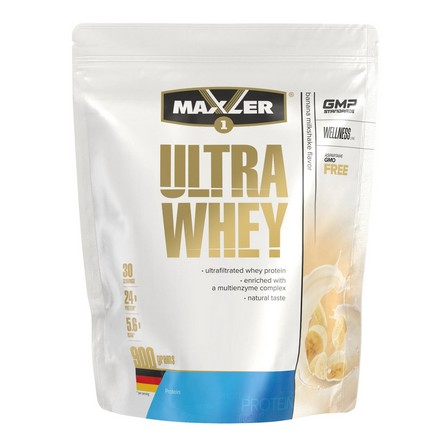 Maxler, Протеин Ultra Whey, банановый молочный коктейль, 900 г