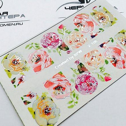 Купить BPW.Style, Слайдер-дизайн «Цветы» №2-108, серебро голография