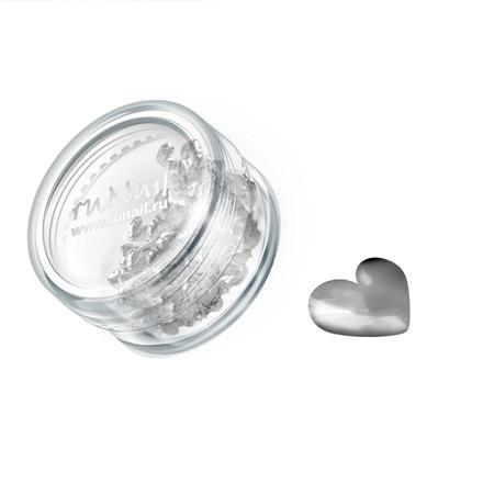 ruNail, дизайн для ногтей: сердечки из ткани 0397 (серебряный)