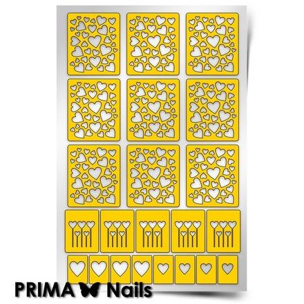 Prima Nails, Трафарет для дизайна ногтей, Принт Сердца 1