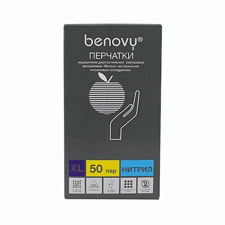 Купить Benovy, Перчатки нитриловые голубые, размер XL, 100 шт.