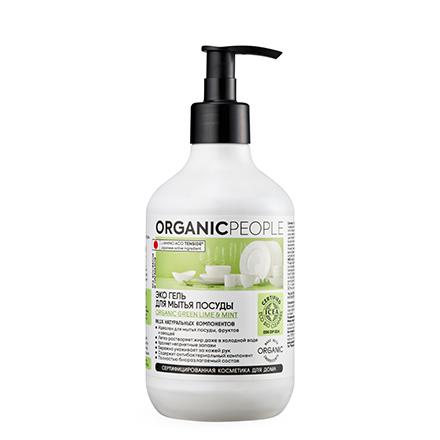 Organic People, Гель для мытья посуды, с органической дикой мятой и лаймом, 500 мл