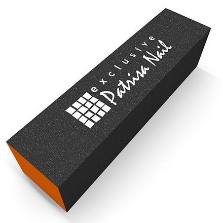 Patrisa Nail, Шлифовочный блок трёхсторонний серо-оранжевый, 100/180/240 (Patrisa nail)