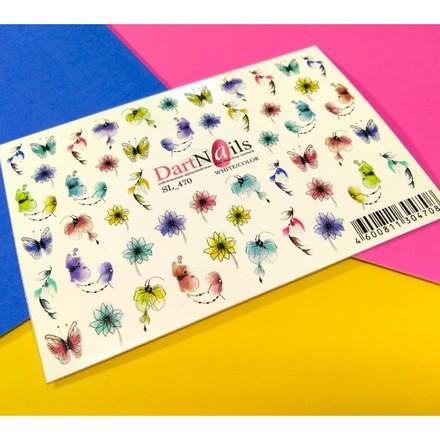 Купить DartNails, Слайдер-дизайн Art-Fashion «Цветы микс» №470