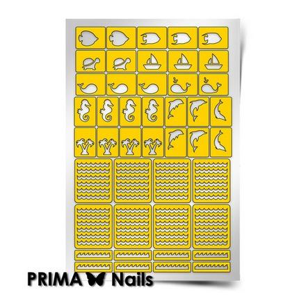 Prima Nails, Трафарет для дизайна ногтей, Морской микс-2