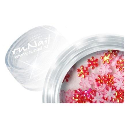 ruNail, дизайн для ногтей: цветы из ткани 0385 (красный)