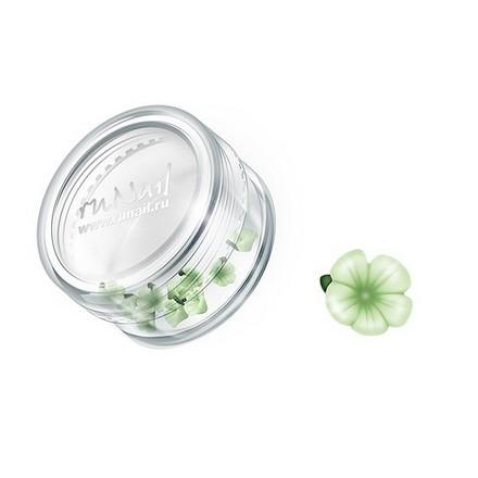 ruNail, дизайн для ногтей: пластиковые цветы 0356 (вьюнок, нежно-зеленый), 10 штук