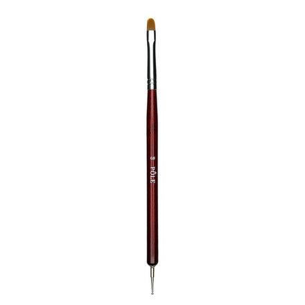 Pole, Двусторонняя закругленная кисть для геля №6, с дотсом, коричневая, в тубе фото