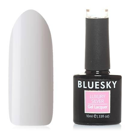 Bluesky, Гель-лак Luxury Silver №001Bluesky Шеллак<br>Гель-лак (10 мл) белый, без перламутра и блесток, плотный. Очень жидкий.