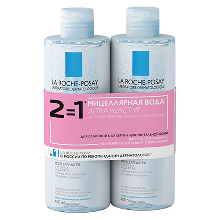 La Roche-Posay, Мицеллярная вода Ultra Reactive, 2х400 мл