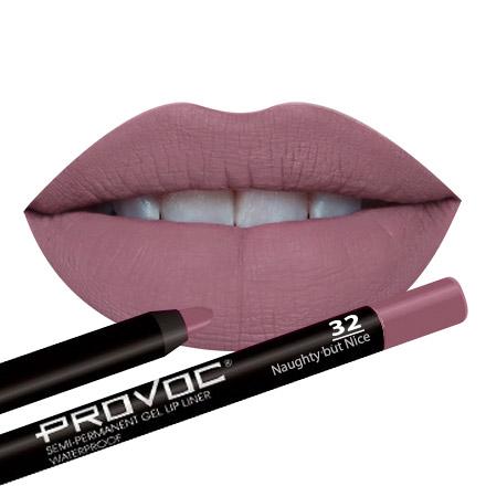 Provoc, Гелевая подводка-карандаш для губ № 32, Naughty but Nice, цвет светлый малиново-бежевый