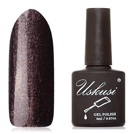 Uskusi, Гель-лак №293Uskusi<br>Гель-лак (8 мл) цвета горького шоколада, с мелким шиммером, плотный.<br><br>Цвет: Фиолетовый<br>Объем мл: 8.00