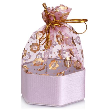 Коробка подарочная с мешком Шестиугольник Светло-розовый, 12*12*5 см