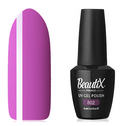 Beautix, Гель-лак №802, 15 млBeautix<br>Гель-лак (15 мл) насыщенный фиолетовый, без перламутра и блесток, плотный.