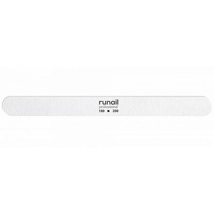 RuNail, Пилка для искусственных ногтей, белая, закругленная, 180/200  - Купить