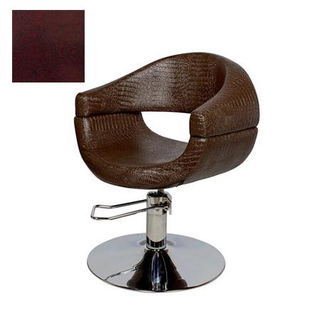 Мэдисон, Кресло парикмахерское «МД-108» гидравлическое, хромированное, бордово-черное  - Купить