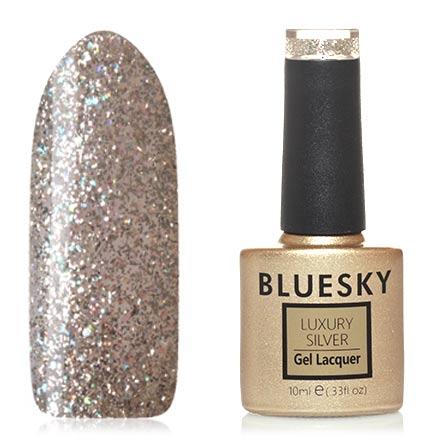 Bluesky, Гель-лак Luxury Silver №516Bluesky Шеллак<br>Гель-лак (10 мл) на прозрачной подложке, с серебристыми, золотистыми и синими блестками, полупрозрачный.