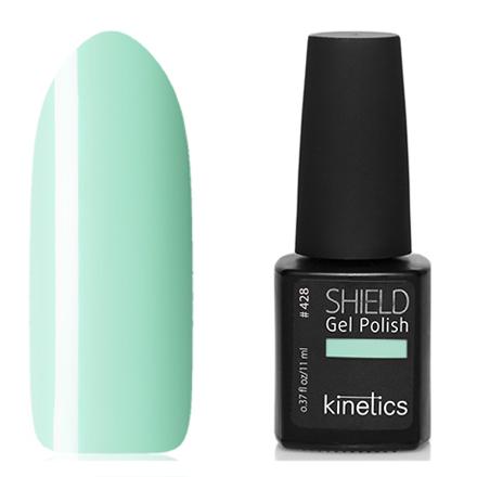 Kinetics, Гель-лак Shield №428, ReconnectKinetics<br>Гель-лак (11 мл) бледно-зеленый, без перламутра и блесток, плотный.