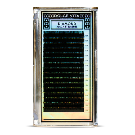 Dolce Vita, Ресницы в ленте Diamond Black Deluxe 0.15/14 B натуральный изгиб dolce vita ресницы в баночке dv extension deluxe premium 0 15 12 изгиб b натуральный
