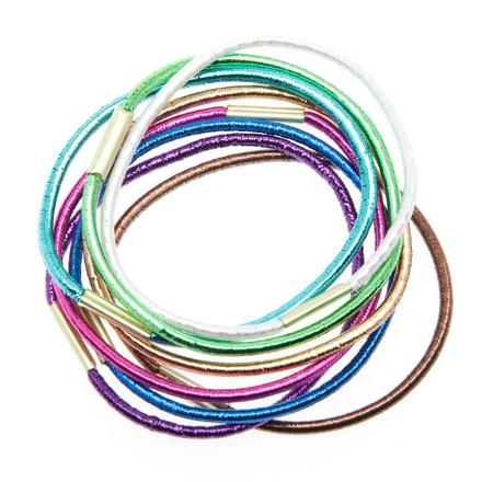 Купить Dewal, Резинки для волос Midi, цветные, блестящие, 8 шт.