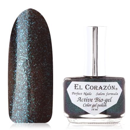 El Corazon, Активный Биогель American Lurex, №423/992El Corazon <br>Лак на черной подложке, с голубыми микроблестками с эффектом хамелеон, полупрозрачный. Объем 16 ml.<br><br>Цвет: Черный<br>Объем мл: 16.00