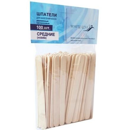 White line, Шпатели деревянные средние, 100 шт. (White Line)