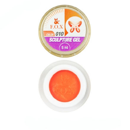 FOX, Гель-пластилин Sculpture Gel №10, оранжевый4d гель (пластилин) для ногтей<br>Гель-пластилин для объемных дизайнов (5 мл).