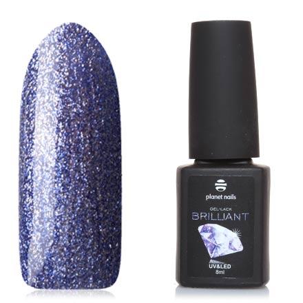 Planet Nails, Гель-лак Brilliant №713Planet Nails<br>Гель-лак (8 мл) сине-фиолетовый, с серебряной фольгой, плотный.
