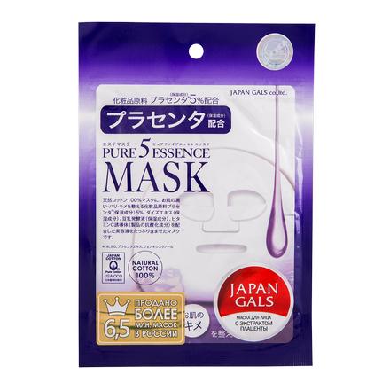 Купить Japan Gals, Маска для лица Pure 5 Essence с плацентой, 1 шт.