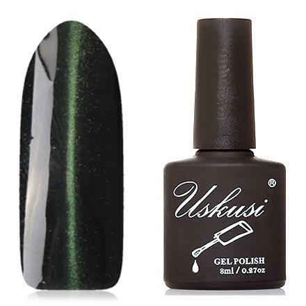 Uskusi, Гель-лак «Кошачий глаз Lux» №4Uskusi<br>Магнитный гель-лак (8 мл) черный, с зелеными микроблестками, плотный.<br><br>Цвет: Зеленый<br>Объем мл: 8.00