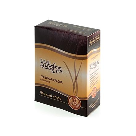 Aasha Herbals, Травяная краска для волос, черный кофе, 6х10 г  - Купить