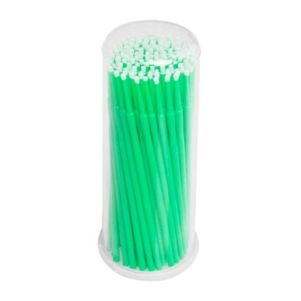 IRISK, Микрощеточки в баночке, M, зеленые, 90-100 шт.Инструменты и кисти<br>Микрощеточки используются в процессе снятия и наращивания искусственных ресниц, биозавивки и ламинирования натуральных ресниц. Длина: 10 см.