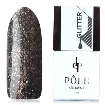 POLE, Гель-лак №45, Серый дождьPOLE<br>Гель-лак (8 мл) черный, с золотистыми хлопьями фольги и синими микроблестками, плотный.<br><br>Цвет: Черный<br>Объем мл: 8.00