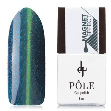 POLE, Гель-лак №81, Темный аквамаринPOLE<br>Магнитный гель-лак (8 мл) насыщенный синий, с голубыми и зелеными микроблестками, плотный.<br><br>Цвет: Синий<br>Объем мл: 8.00