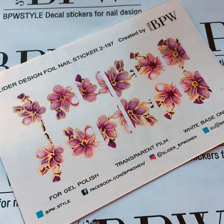 Купить BPW.Style, Слайдер-дизайн «Цветы» №2-197, золото голография