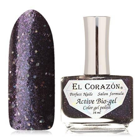 El Corazon, Активный биогель Like Picture, №423/1081El Corazon <br>Лак для ногтей (16 мл) темно-фиолетовый, с голографическими блестками и розовыми микроблестками, плотный.<br><br>Цвет: Фиолетовый<br>Объем мл: 16.00