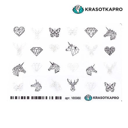 Купить KrasotkaPro, 3D-стикер для ногтей «Животные. Звери», белый