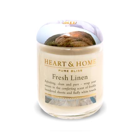 Heart&amp;Home, Свеча «Свежесть белья», маленькая, 110 гАроматические свечи<br>Ароматсвежего льняного белья и пушистых полотенец, дополненный легкими фруктовыми нотками, наполнит пространствоощущением свежести и чистоты.<br>