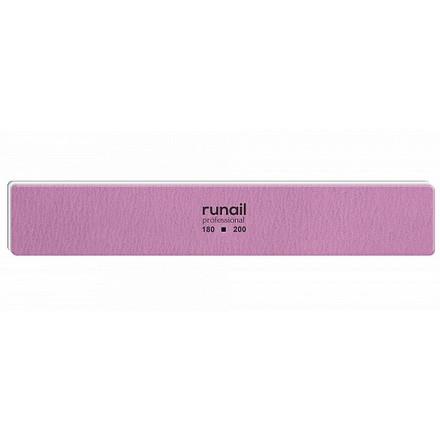 Купить RuNail, Пилка для искусственных ногтей, розовая, прямая, 180/200