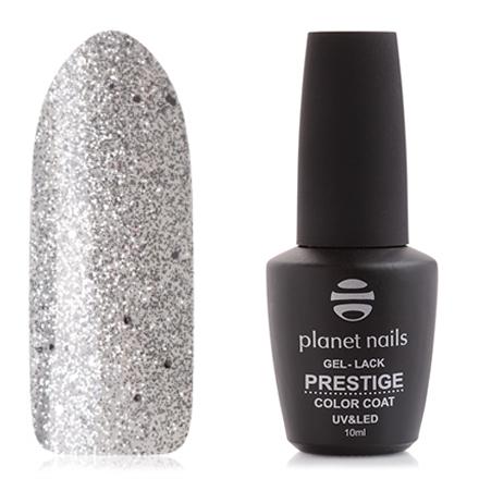 Planet Nails, Гель-лак Prestige №566Planet Nails<br>Гель-лак (10 мл) на прозрачной подложке, с серебристыми блестками и микроблестками, прозрачный.