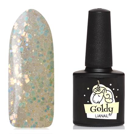 Lianail, Гель-лак Unicorn, GoldyLianail<br>Гель-лак (10 мл) на прозрачной подложке желтого цвета,  с голографическими блестками и микроблестками, полупрозрачный.